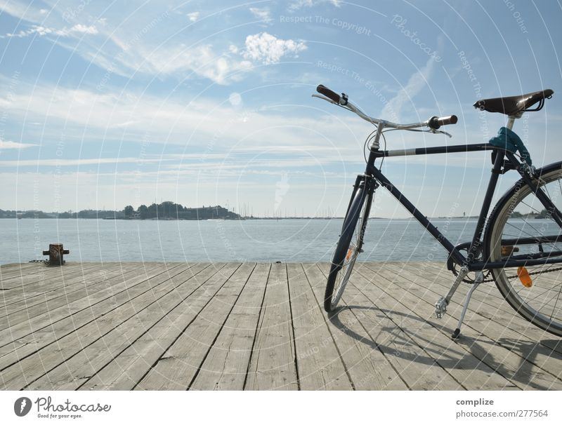bike Relaxation Vacation & Travel Trip Far-off places Freedom Cycling tour Summer Ocean Island Bicycle Jetty Footbridge Leisure and hobbies Colour photo