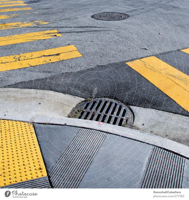 City Black Yellow Street Gray Transport Signs and labeling Arrangement Speed Broken Stripe Safety Network Asphalt Traffic infrastructure Downtown