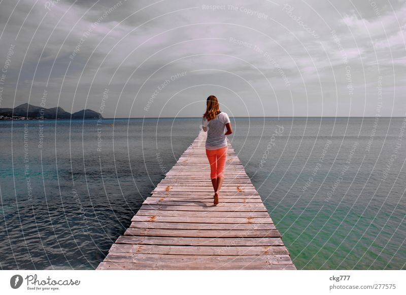 sea walking Feminine Young woman Youth (Young adults) Woman Adults 1 Human being Water Ocean Going Walking Colour photo Subdued colour Exterior shot