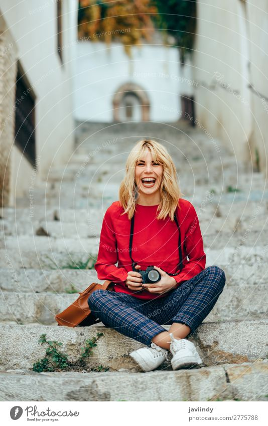 Woman taking photographs with an old camera Lifestyle Style Happy Beautiful Hair and hairstyles Leisure and hobbies Vacation & Travel Tourism Camera Human being