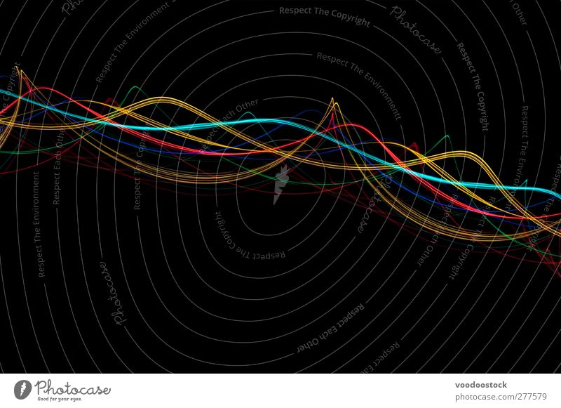 Abstract Light Wave Backdrop Line Bright Yellow Red Black Turquoise Life Colour Creativity twist Curve Arabesques border Cyan colorful lines Swirl Wave length