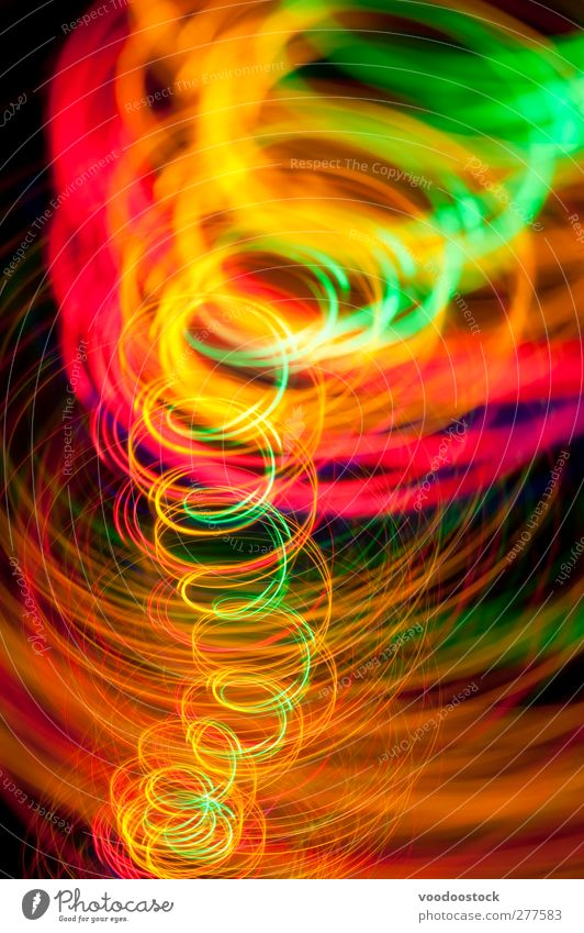 Vivid Light Painted Whirlpool Dance Energy industry Line Bright Speed Green Orange Red Black Colour Glow light Spiral trace vortex Curve colorful background