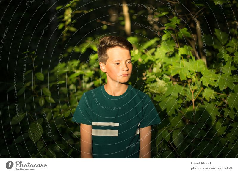 Portrait of young beautiful pensive teen boy in forest Lifestyle Beautiful Face Leisure and hobbies Vacation & Travel Tourism Adventure Summer Human being