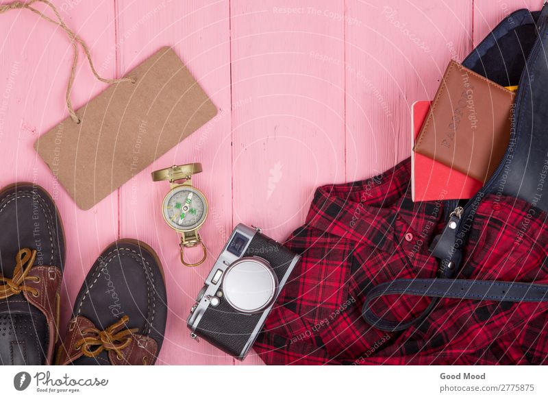 bag, passport, camera, compass, shoes, shirt, note pad Vacation & Travel Blue Red Lifestyle Wood Business Tourism Copy Space Fashion Pink Trip Retro Table
