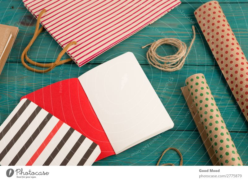 shopping bag, packing paper with polka dots, notepads Blue Colour Beautiful Red Wood Natural Style Business Office Design Bright Retro Vantage point Gift