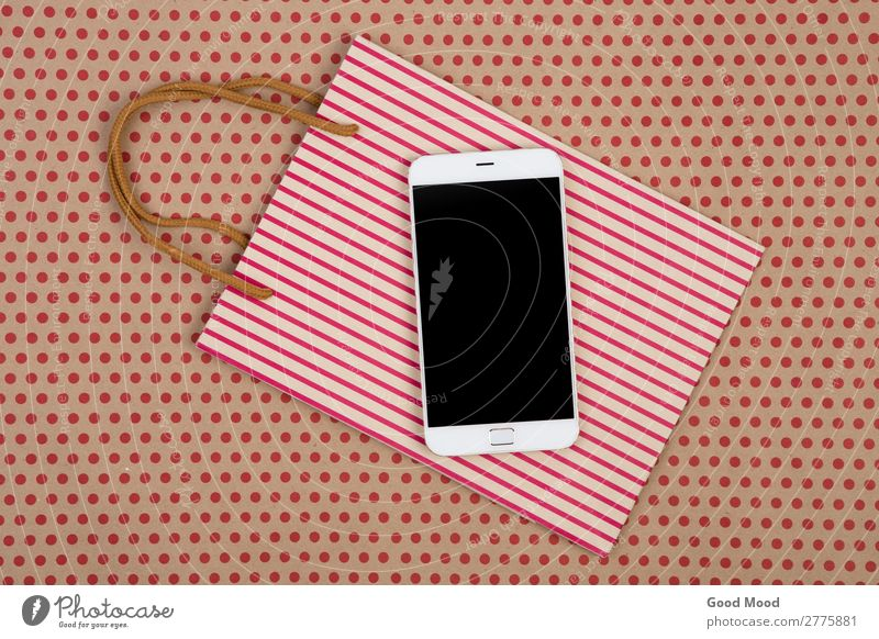 shopping bag, gift bags and white smartphone Shopping Style Design Office Craft (trade) Business Telephone PDA Screen Technology Musical notes Pack Paper