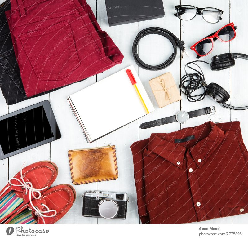 notepad, tablet pc, clothes, headphones, camera, shoes, watch Vacation & Travel Trip Table Computer Camera Clothing Pants Jeans Leather Accessory Sunglasses