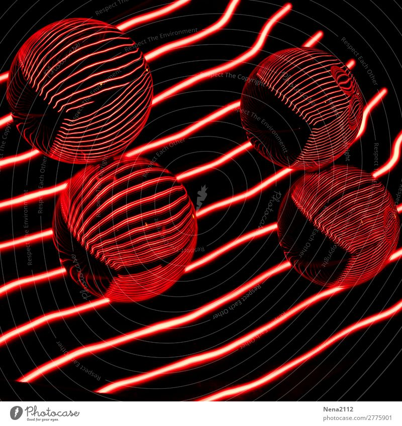 Red reflections I Art Round Sphere Glass ball Line Light painting Colour photo Interior shot Studio shot Close-up Detail Experimental Abstract Pattern