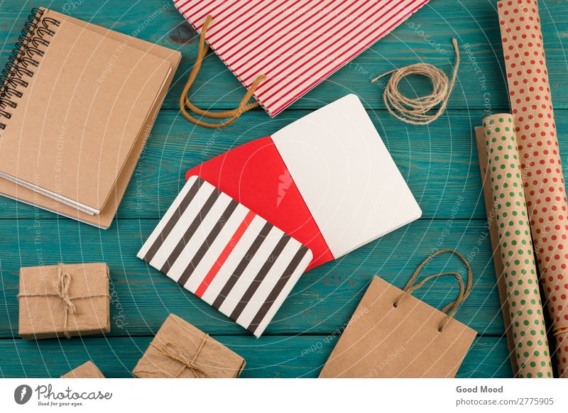 set with handmade striped shopping bag, gift bags, packing paper Shopping Style Design Beautiful Office Craft (trade) Business Rope Musical notes Pack Paper