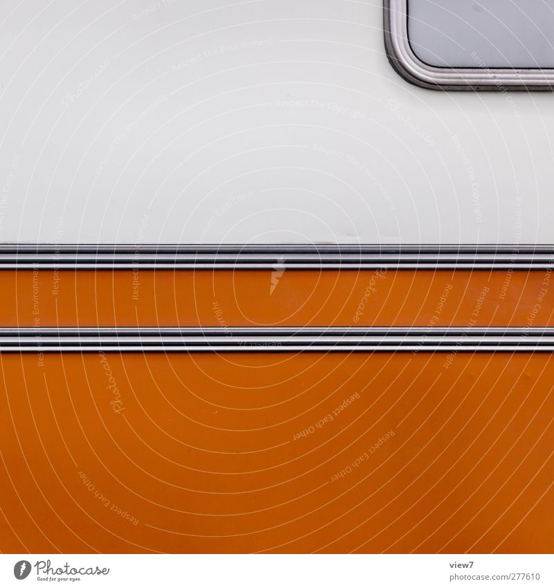 orange Leisure and hobbies Transport Vehicle Mobile home Caravan Site trailer Trailer Metal Line Stripe Esthetic Authentic Simple Fresh Modern New White Design