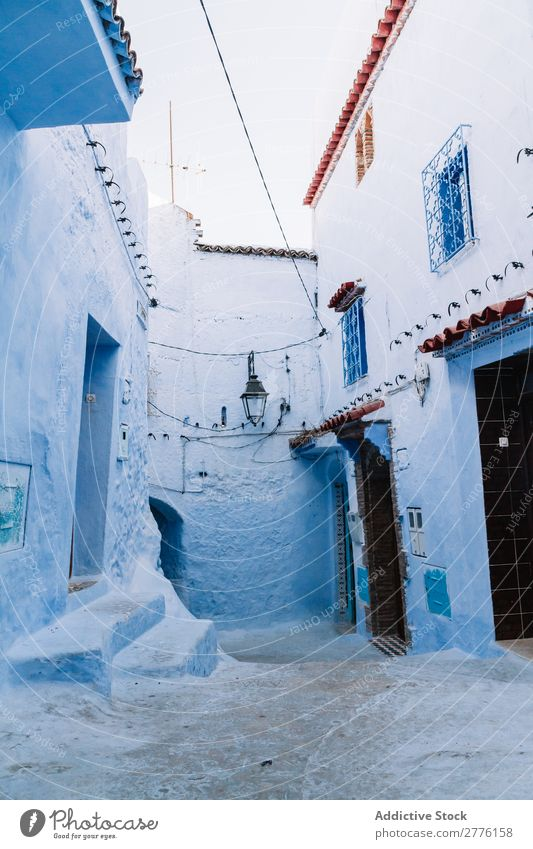 Blue painted street Street Exotic Exterior Painted Art Traveling Rough Town Alley Design Multicoloured Structures and shapes Style textured Old Consistency