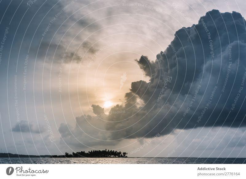 Huge thundercloud in sea Clouds Storm Ocean Dramatic Nature Landscape Panorama (Format) cloudscape Dusk Environment Weather Sky Natural Horizon seascape