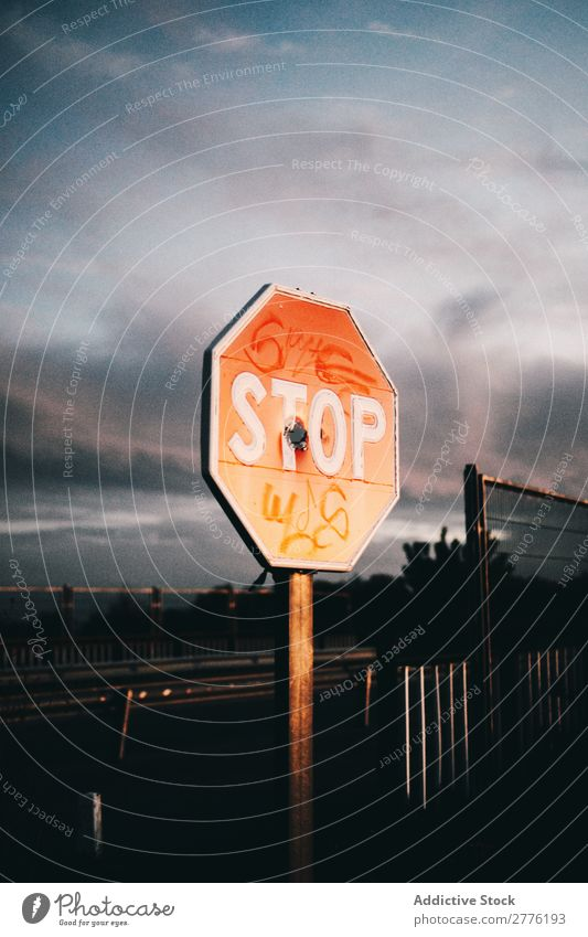 Stop sign with tags Sign Graffiti Label Symbols and metaphors Street Warning Deserted Road sign Safety Object photography Transport Red forbidden ban Old Town