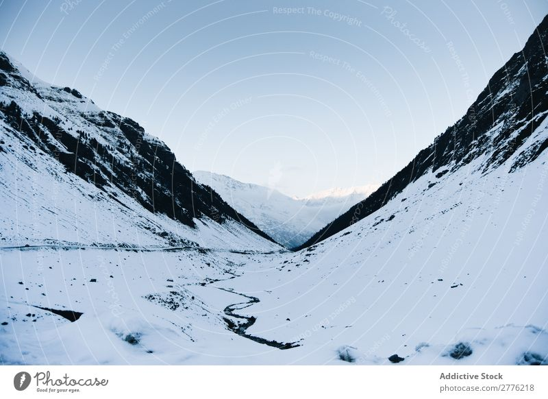 Landscape of snow-capped mountains Mountain Snow scenery Lanes & trails Winter White Frost Ice Nature Seasons Hoar frost Natural Environment Rock Alpine
