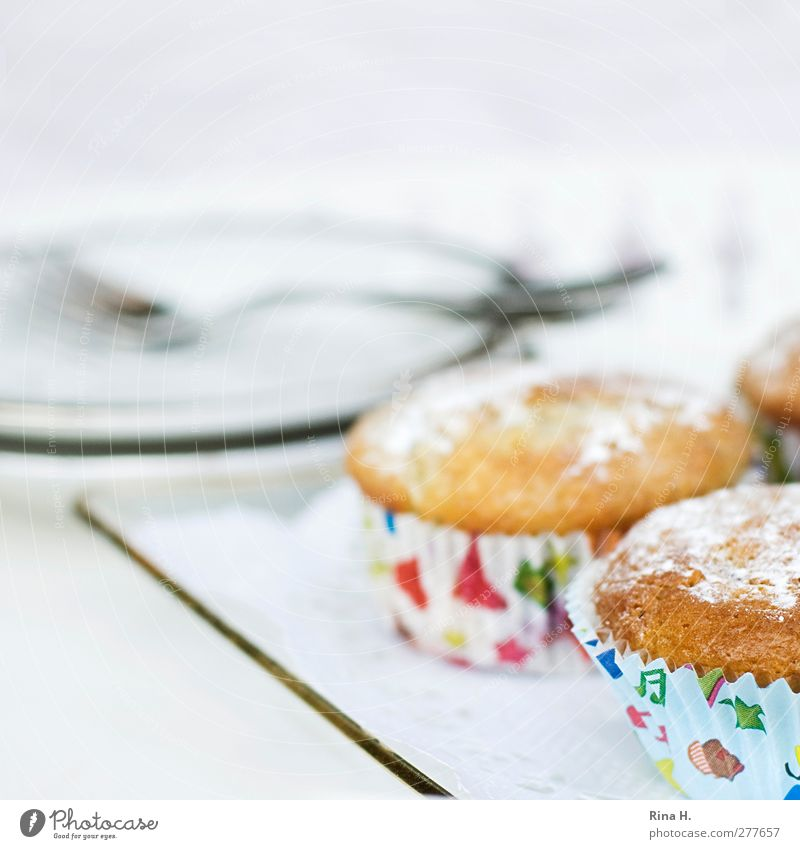 Bright Sweet Delicious Crockery Square Plate Baked goods Dough Fork Muffin