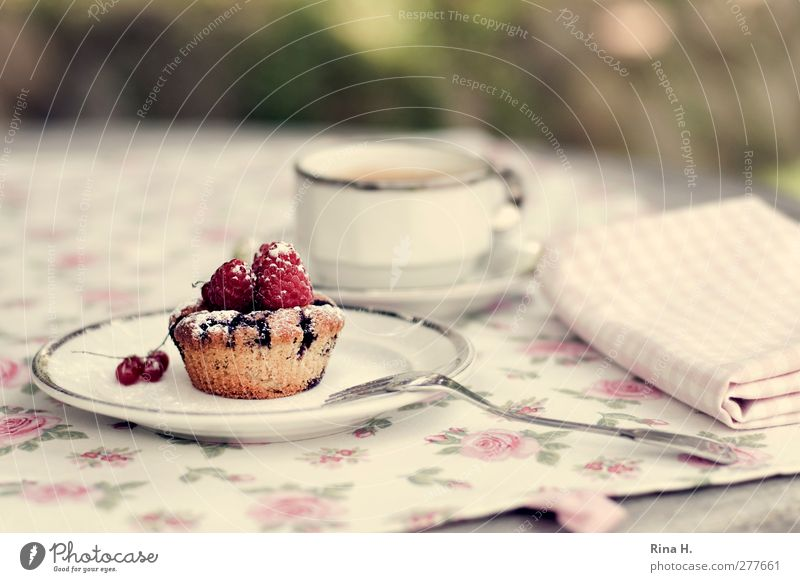 Fruit Sweet Coffee Crockery Delicious Cup Cake Plate Baked goods Dough Tablecloth Fork Muffin Raspberry Serviette Hot drink