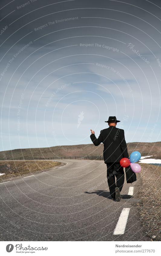 Human being Man Loneliness Adults Street Mountain Freedom Style Fashion Walking Elegant Beginning Adventure Lifestyle Change Break
