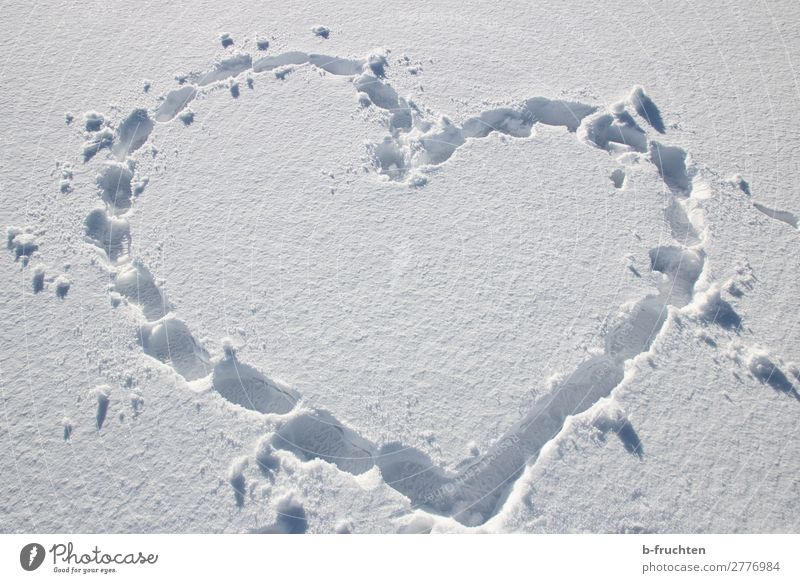 Heart shape - traces in the snow Contentment Hiking Winter Snow Footprint Going Simple White Sympathy Friendship Love Infatuation Joy Heart-shaped Tracks Sign