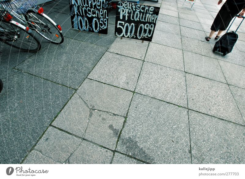 Human being Woman Adults Bicycle Signs and labeling Shopping Individual Sidewalk Economy Section of image Partially visible Anonymous Offer Paving tiles