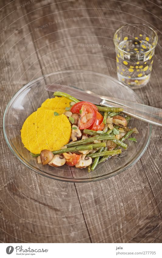 polenta with bean vegetables Food Vegetable Dough Baked goods Nutrition Lunch Organic produce Vegetarian diet Italian Food Beverage Cold drink Drinking water