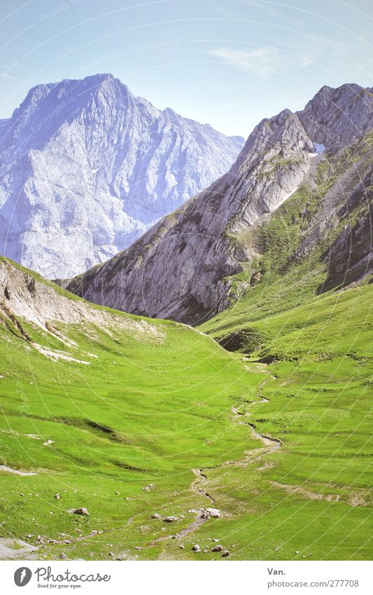 halfway up Calm Vacation & Travel Mountain Nature Landscape Earth Sky Summer Grass Rock Alps Lanes & trails Tall Warmth Soft Blue Green Colour photo