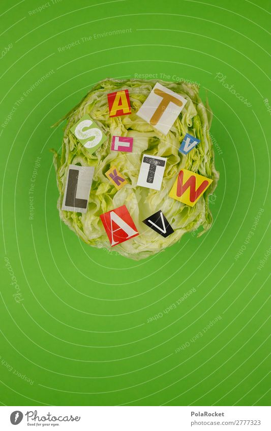 #A# Lettersalad Art Work of art Esthetic Lettuce Salad Salad leaf head of lettuce Iceberg lettuce Green Healthy Eating Colour photo Subdued colour Multicoloured