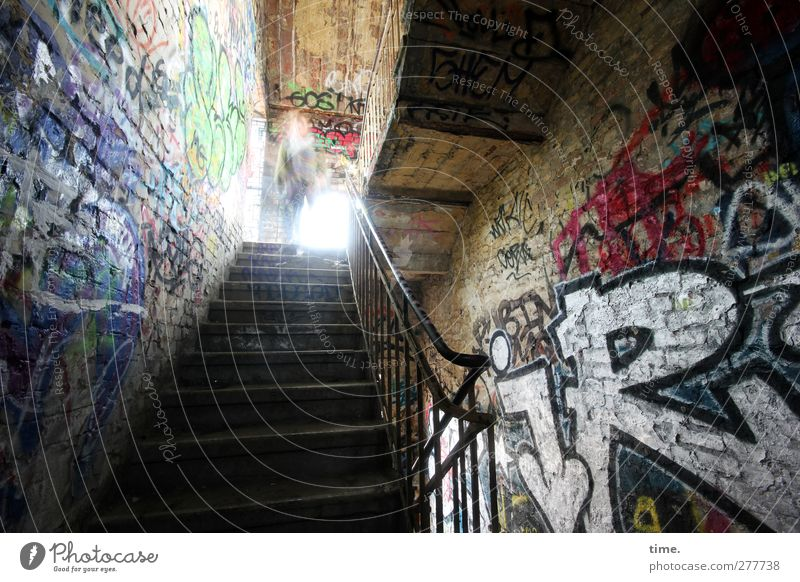 Old House (Residential Structure) Dark Window Graffiti Wall (building) Wall (barrier) Dream Art Stairs Characters Adventure Broken Factory Historic Creepy