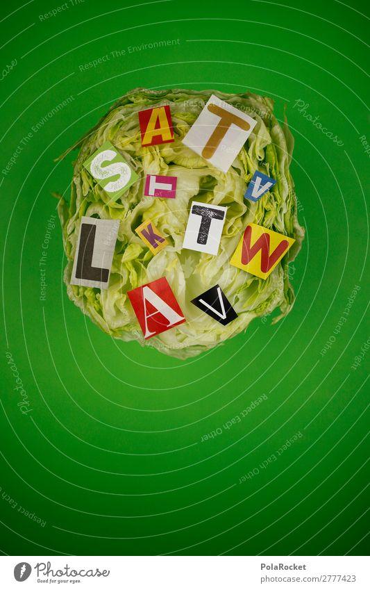 #A# salad green Art Work of art Esthetic Lettuce Salad Iceberg lettuce Green Letters (alphabet) Creativity Idea Design Design studio Colour photo Multicoloured