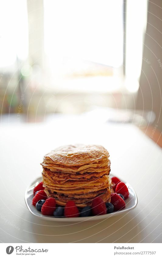 #A# Pancake-Window Art Esthetic Dish Pancake Rocks Raspberry Blueberry Breakfast Breakfast table Morning break Colour photo Subdued colour Interior shot