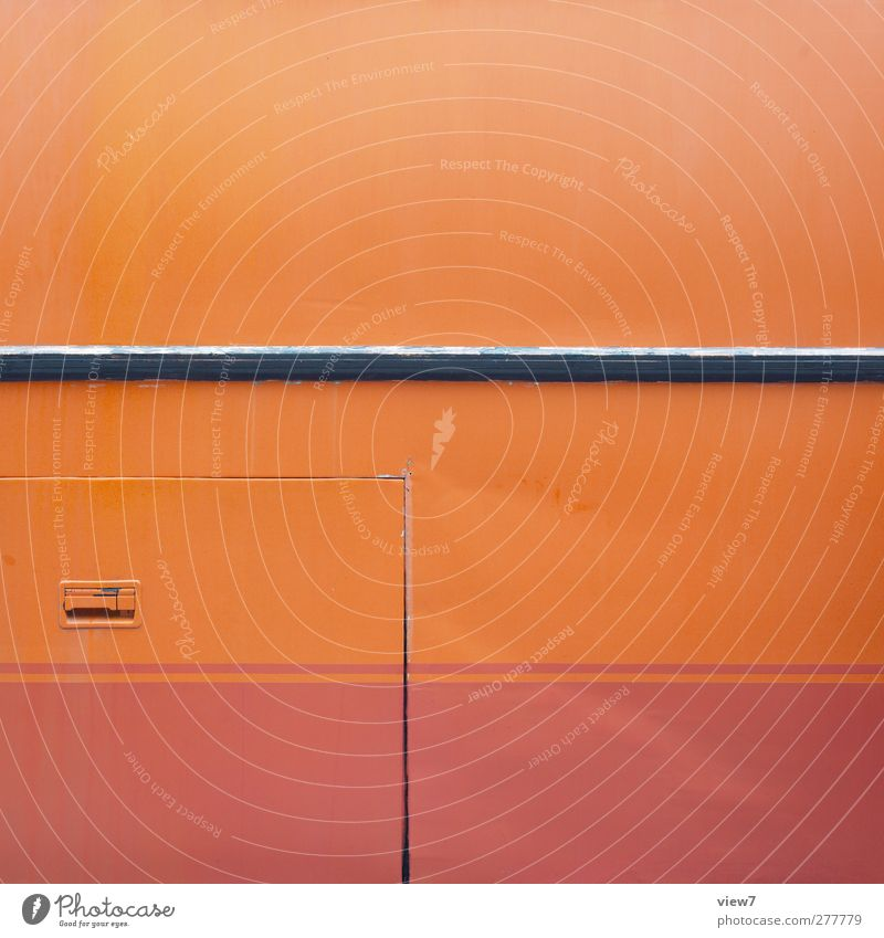 autobus Wall (barrier) Wall (building) Transport Bus Metal Line Stripe Old Authentic Simple Modern Cliche Design Elegant Arrangement Logistics Orange Molding