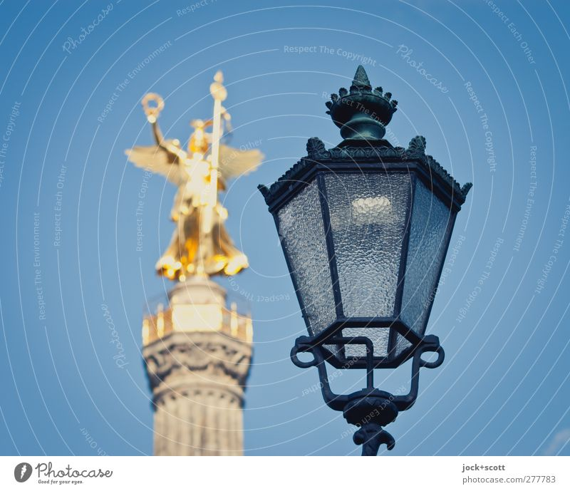 Victory Victoria Work of art Sculpture Berlin zoo Tourist Attraction Monument Victory column Metal Stand Old Esthetic Elegant Historic already Gold Moody