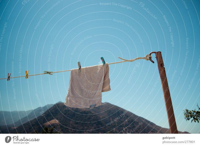 Nature Blue White Summer Landscape Mountain Rock Wind Peak Clean Hill Hang Cloudless sky Laundry Clothesline Towel