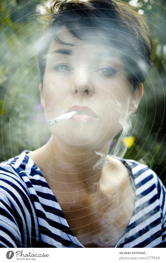Let's do something for our health. Feminine Smoking Dream Serene Calm Authentic Colour photo Exterior shot Portrait photograph