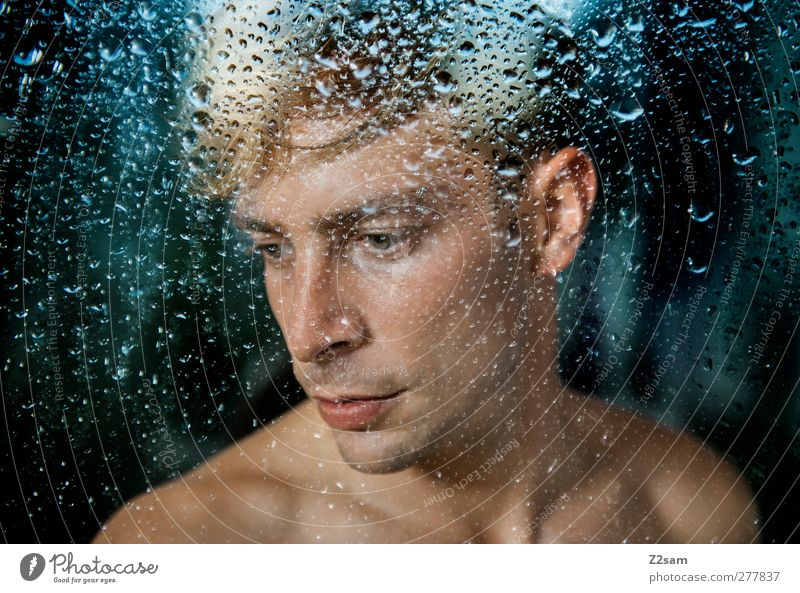 Human being Youth (Young adults) Blue Water Loneliness Adults Window Cold Sadness Think Young man Dream Rain 18 - 30 years Blonde Natural