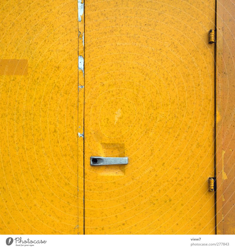 entrance Wall (barrier) Wall (building) Door Transport Vehicle Truck Bus Metal Line Stripe Old Esthetic Authentic Simple Fresh Modern Positive Yellow Colour