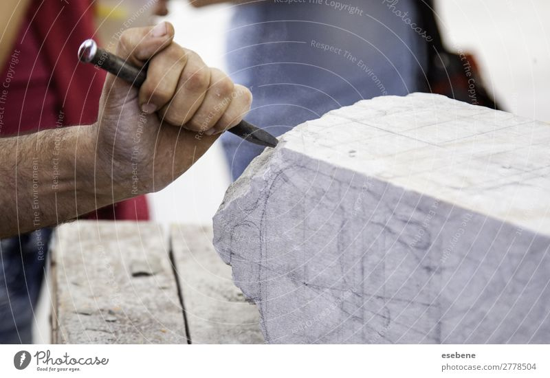Carving stone, craftsman shaping stone Shopping Work and employment Profession Craft (trade) Business Tool Hammer Human being Man Adults Hand Art Stone