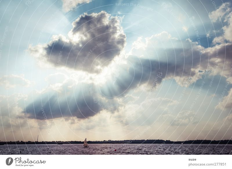 Neuseenland Sun Environment Nature Landscape Elements Water Sky Clouds Horizon Summer Climate Weather Beautiful weather Lake Sailboat Exceptional Blue Dramatic