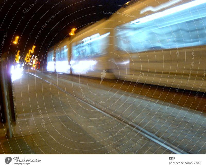 streetcar Bremen Tram Night Long exposure Railroad tracks Light Lantern Style KDF Movement Street Blur