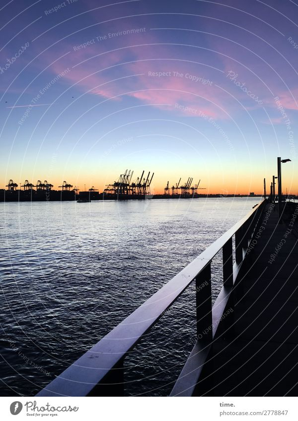 Down the Elbe, wanderlust. Water Sky Clouds Horizon Winter Beautiful weather Coast River bank Hamburg Port of Hamburg Port City Skyline Industrial plant Harbour