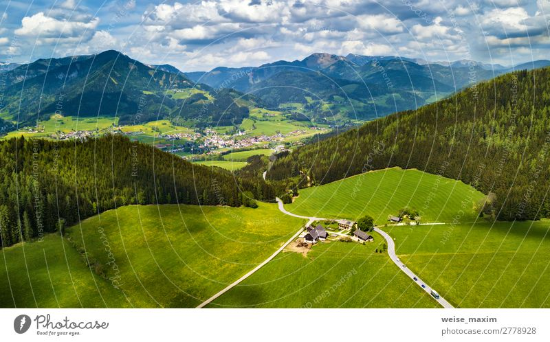 Spring travel in Austria. Green fields and meadows Sky Vacation & Travel Nature Summer Plant Beautiful Landscape Tree House (Residential Structure) Clouds