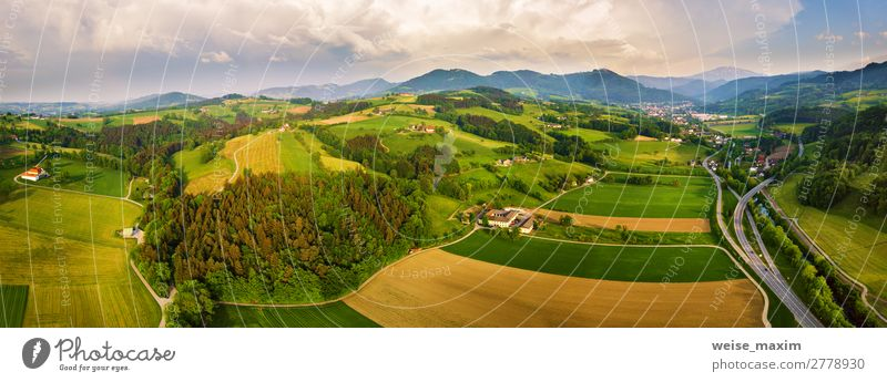 Spring travel in Austria. Green fields Sky Vacation & Travel Nature Summer Plant Beautiful Landscape Tree House (Residential Structure) Clouds Forest Mountain