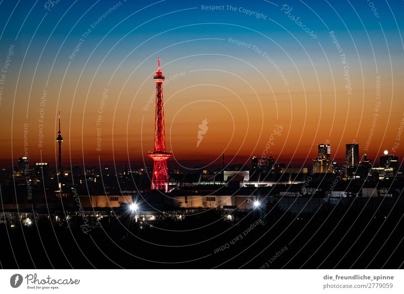 Dawn over Berlin Landscape Cloudless sky Sunrise Sunset Winter Beautiful weather Germany Europe Capital city Downtown Skyline Tower Tourist Attraction Landmark