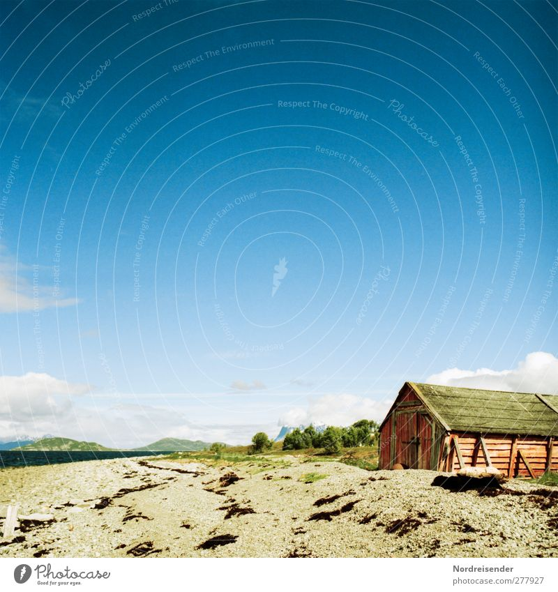 boathouse Calm Summer Beach Ocean Landscape Sand Water Sky Beautiful weather Coast Hut Building Architecture Relaxation Natural Loneliness Idyll