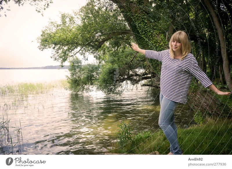 Human being Nature Youth (Young adults) Water Summer Tree Adults Landscape Young woman Lake Happiness Lakeside Recklessness Exuberance Light heartedness