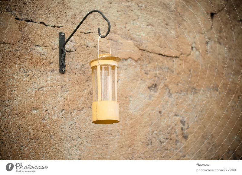 old lamp Style Flat (apartment) Garden Decoration Furniture Lamp Wall (barrier) Wall (building) Facade Stone Concrete Old Beautiful Brown Yellow Orange