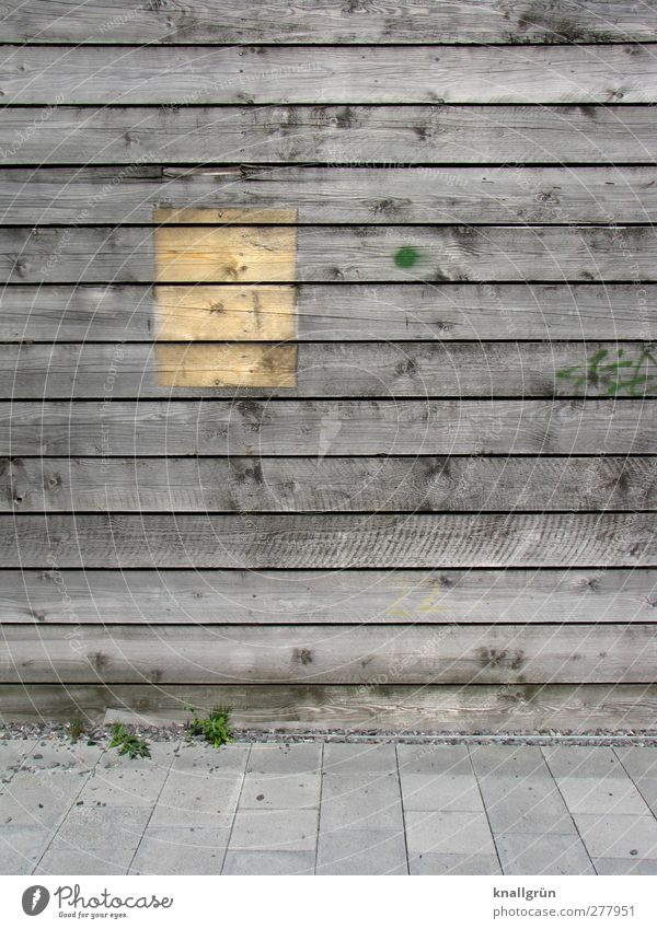 PAST HISTORY Wooden wall Old Sharp-edged Brown Gray Paving tiles Rectangle Knothole Colour photo Subdued colour Exterior shot Deserted Copy Space right