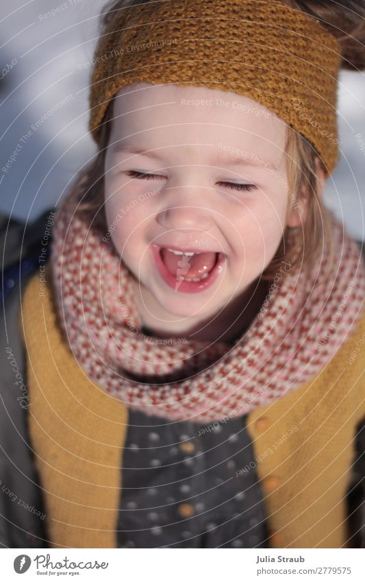 Human being Beautiful Joy Winter Black Yellow Spring Natural Feminine Snow Laughter Happy Pink Fresh Glittering Infancy