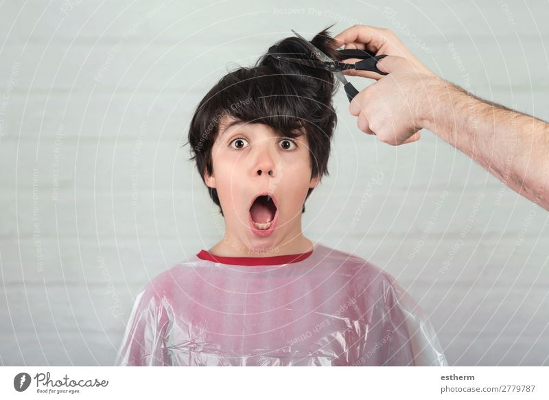 surprised boy at the hairdresser Lifestyle Style Personal hygiene Medical treatment Profession Hairdresser Scissors Human being Masculine Child Infancy 1