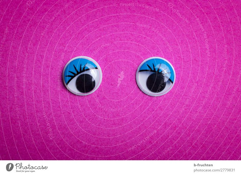 Eyes open! Stationery Paper Decoration Observe Looking Violet Pink wobbly eyes Looking into the camera Feminine Symbols and metaphors Colour photo Interior shot