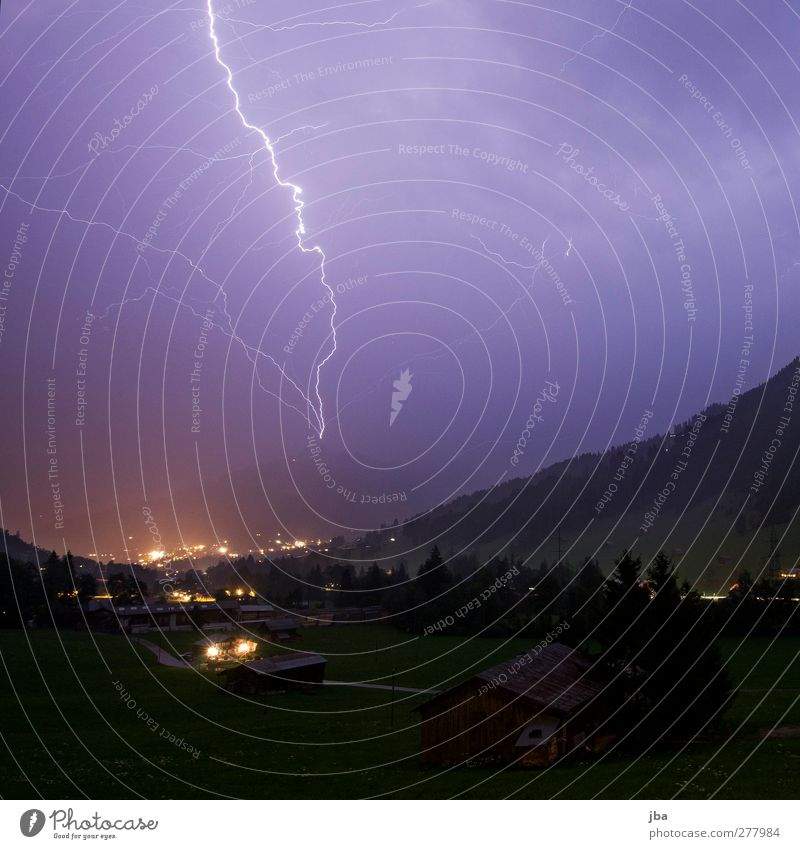Force of nature! Life Mountain Nature Elements Sky Storm clouds Night sky Summer Climate Gale Thunder and lightning Lightning Rock Alps Peak Saanenland Village